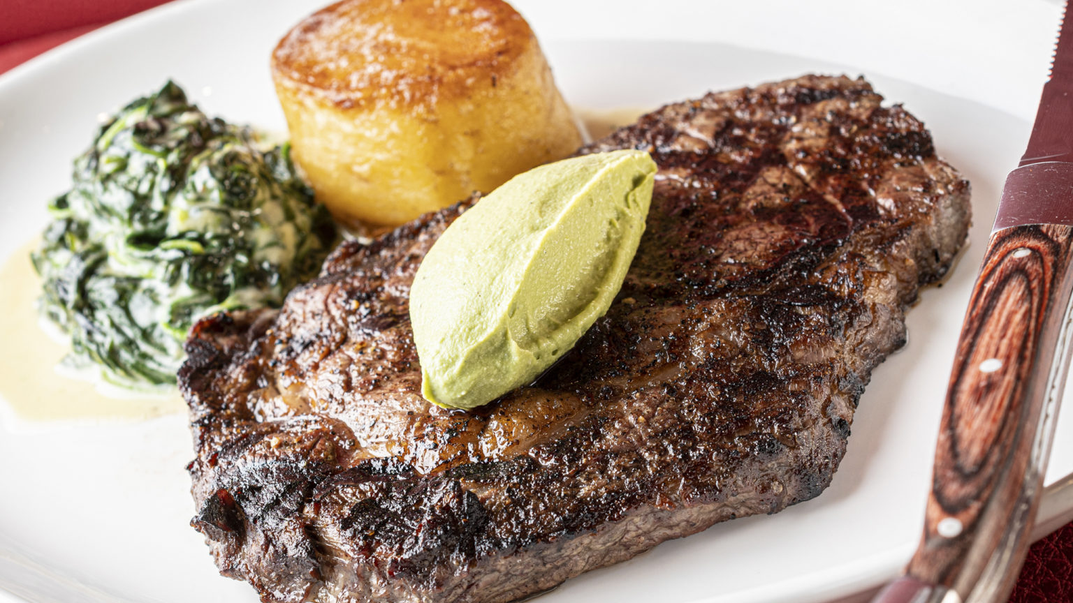 Grilled Ribeye - Broccoli-Stilton Quenelle, Creamed Spinach _ Confit Potato