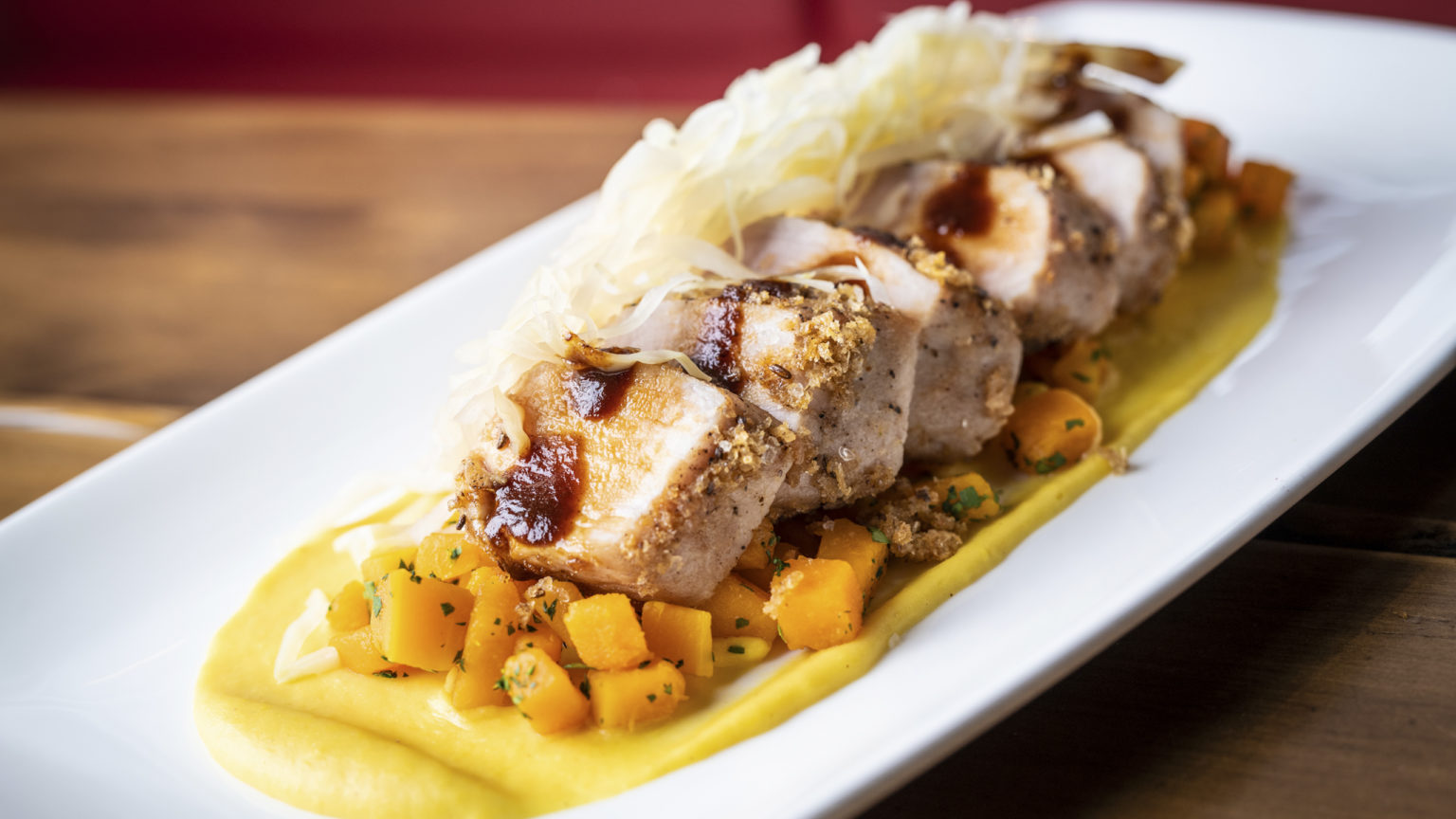 Caraway Crusted Pork Loin - Pickled Cabbage, Butternut Squash _ Corn Puree